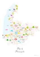 Map of Merseyside in North West England Unframed print illustration