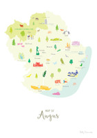 Map of Angus in Scotland Unframed print illustration