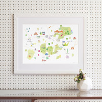 Illustrated hand drawn Map of Crouch End, East Finchley, Highgate & Muswell Hill art print by artist Holly Francesca.