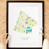 Illustrated hand drawn Map of the Horniman Museum & Gardens by UK artist Holly Francesca.