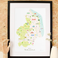 Map of Northumberland framed print illustration