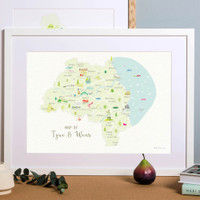 Map of Tyne & Wear in North East England framed print illustration