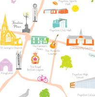 Map of Poynton (Cheshire) Art Print illustration framed by artist Holly Francesca