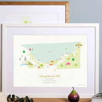 Illustrated hand drawn Edinburgh Marathon Route Map art print by artist Holly Francesca.