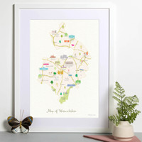 Illustrated hand drawn Map of Warwickshire art print by artist Holly Francesca.