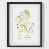 Illustrated hand drawn Map of Staffordshire art print by artist Holly Francesca.
