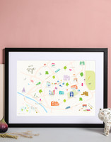 Illustrated hand drawn Map of Rye (East Sussex) art print by artist Holly Francesca.