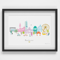 Illustrated hand drawn Manchester Skyline Cityscape art print by artist Holly Francesca.
