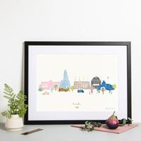 Illustrated hand drawn Leeds Skyline Cityscape art print by artist Holly Francesca.
