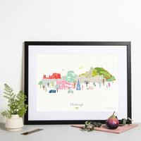 Illustrated hand drawn Edinburgh Skyline Cityscape art print by artist Holly Francesca.