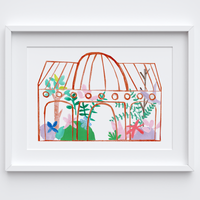 Illustrated hand drawn and painted umber botanical glasshouse art print by artist Holly Francesca.