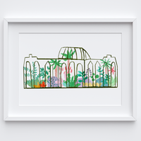 Illustrated hand drawn and painted Forest Green botanical glasshouse art print by artist Holly Francesca.