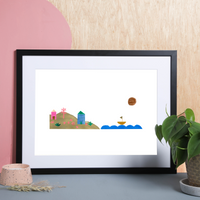 Illustrated hand drawn and painted boat sailing scene art print by artist Holly Francesca.