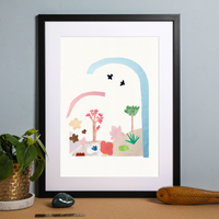 Illustrated hand drawn and painted Birds flying over art print by artist Holly Francesca.
