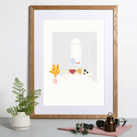 Illustrated art print, a minimalist lavender room with pampas grass and window scene. Created from original drawings and paintings by artist Holly Francesca.