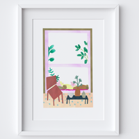 Illustrated art print, sitting by the window scene. Created from original drawings and paintings by artist Holly Francesca.
