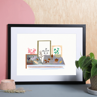 Illustrated art print, of an atmospheric perspective landscape. Created from original drawings and paintings by artist Holly Francesca.