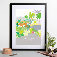 Personalised Jungle Animals Birth Print