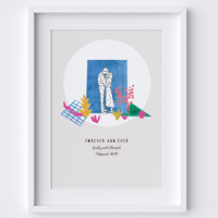 Couple Kissing Personalised Forever and Ever Wedding Art Print