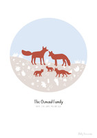 Personalised Fox Family Art Print illustration can come framed or unframed.