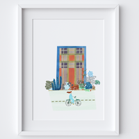 Illustrated city scene with girl riding a bike. Created from original drawings,paintings and this includes a vintage painted pattern used to form a collage by artist Holly Francesca.