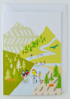 Cycling in the Hills - Greeting Card