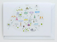 Arrondisements of Paris Map - Greeting Card