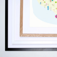 Illustrated hand drawn Map of Isle of Man art print by artist Holly Francesca. All prints can come framed or unframed.