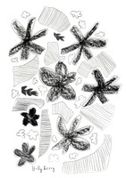 Flowers & Strips Drawing Print unframed