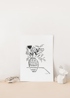 Vase with Flower Drawing Print