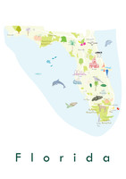 Illustrated Florida State Map Art Print unframed. Create with original paintings and drawings.