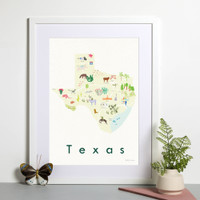 Illustrated Texas State Map Art Print framed. Create with original paintings and drawings.