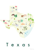 Illustrated Texas State Map Art Print unframed. Create with original paintings and drawings.