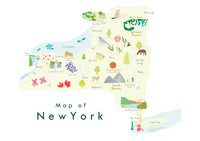 Illustrated New York State Map Art Print unframed. Create with original paintings and drawings.