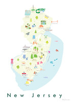Illustrated New Jersey State Map Art Print unframed. Create with original paintings and drawings.