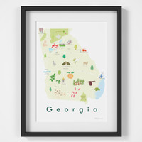 Illustrated Georgia State Map Art Print framed. Create with original paintings and drawings.