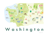 Illustrated hand drawn Map of Washington state art print by artist Holly Francesca.