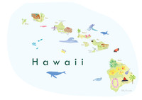 Illustrated Hawaii State Map Art Print unframed. Create with original paintings and drawings.