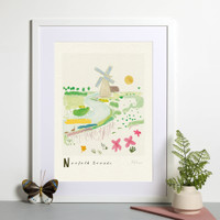 Norfolk Broads Scene Art Print created from an original painting framed