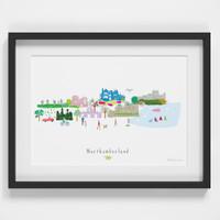 Northumberland County Skyline Landscape Art Framed Print by artist Holly Francesca