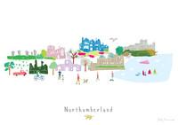 Northumberland County Skyline Landscape Art unframed Print by artist Holly Francesca