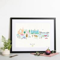 Norfolk County Skyline Landscape Art Framed Print by artist Holly Francesca