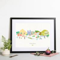 Yorkshire County Skyline Landscape Art Framed Print by artist Holly Francesca