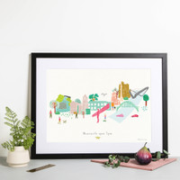 Illustrated hand drawn Newcastle Skyline Cityscape art print by artist Holly Francesca.