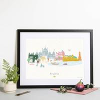 Brighton Skyline Cityscape Art Print by artist Holly Francesca