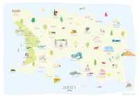 Unframed Map of Jersey Art Print, in the Channel Islands. Created by artist, Holly Francesca.
