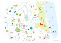 Unframed Map of Sandwich in Kent. Created by artist, Holly Francesca.
