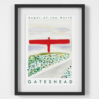 Angel of the North Travel Poster Art Print created from an original painting framed