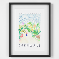 Eden Project, Cornwall Landmark Travel Print created from an original painting framed