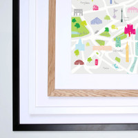 Illustrated hand drawn London map by UK artist Holly Francesca. All prints can come framed or unframed.
